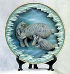 3-D Trio Manatees Collectible FREE SHIPPING!